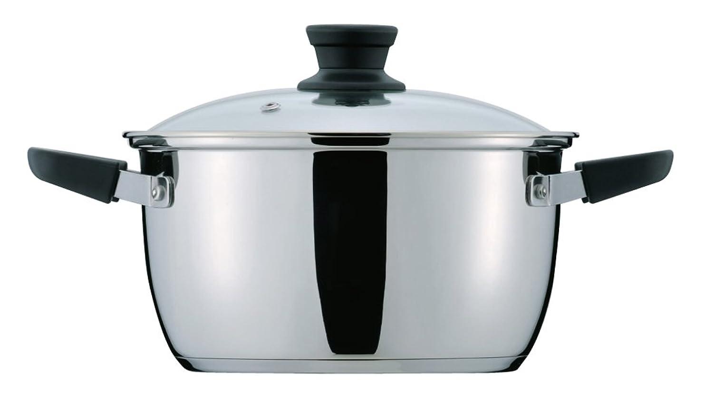部不器用部パール金属 クラッセ 3層底 ガラス蓋 付 両手鍋 20cm 内面ふっ素加工 IH対応 HB-3416