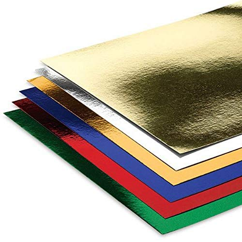 Hygloss Products Mirror Board Sheets - Reflective, Shiny Poster Board – 8-1/2 x 11 Inches, Assorted Colors, 6 Pack (28309)