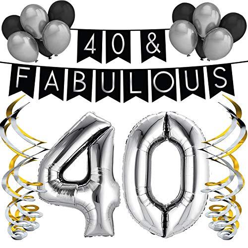 """Sterling James Co. """"40 & Fabulous"""" Geburstagsdeko Set – Schwarz & Silber Girlande, Ballons und Wirbel – Party Dekoration für Geburtstag – Geburtstags Dekorationsset für 40."""