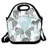 Bolsas de almuerzo aisladas, de neopreno, reutilizables, grandes, impermeables, para viajes al aire libre, trabajo, color negro y blanco, cebra leopardo, tigre personalizado