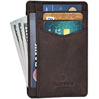 Clifton Heritage RFID Front Pocket Leather Card Holder Wallet (Coffee)