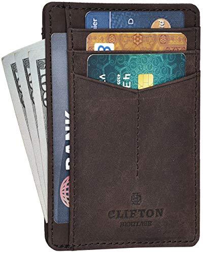 RFID Front Pocket Leather Handmade Credit Card Holder Now $7.99