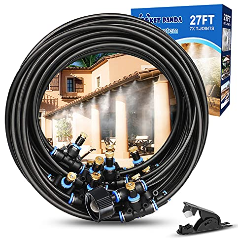 Misters for Outside Patio, 27FT Misting Hose, Mister Fan Outdoor, Misting Cooling System for Porch, Umbrella, Deck, Canopy, Patio Misters for Cooling, Backyard Water Mister for Garden,Cool Mist System