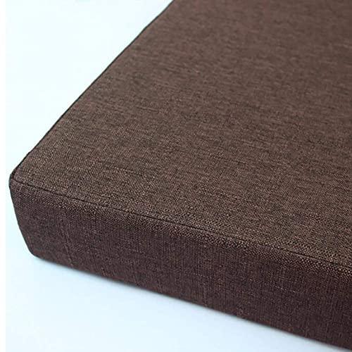 Sitzkissen, einfarbiges quadratisches Schwammstuhlkissen, abnehmbares, rutschfestes, strapazierfähiges, bequemes Sitzkissen aus Baumwolle und Leinen, geeignet für zu Hause und im Freien