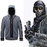 Kuberas Call of Duty Cosplay Costume Jacket + Patches + Bandana, Ghost Battle Suit Coat Hoodies Warm Fleece Game Sweatshirt Outwear TF 141 Team Uniform