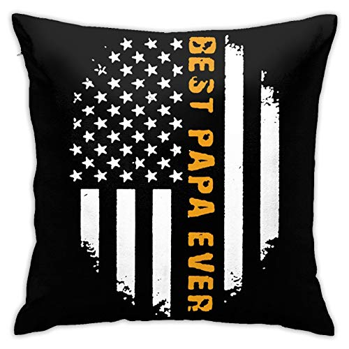 ROLFUSHA Best Papa Ever Father's Day 2 Hypoallergenic Throw Pillow Insert Sham Cushion Cover Square Pillowcase18 inches