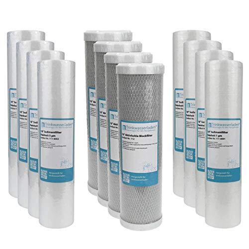 "2 Jahre Filter Set 10\"" 12-teilig Ersatzfilter Umkehrosmose RO Sediment Aktivkohle"