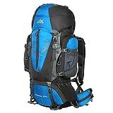 HWJIANFENG 80+5L Sac à Dos de Randonnée Bleu pour Femme Homme Sac de Sport pour Alpinisme Escalade Voyage Bivouac Trekking Camping