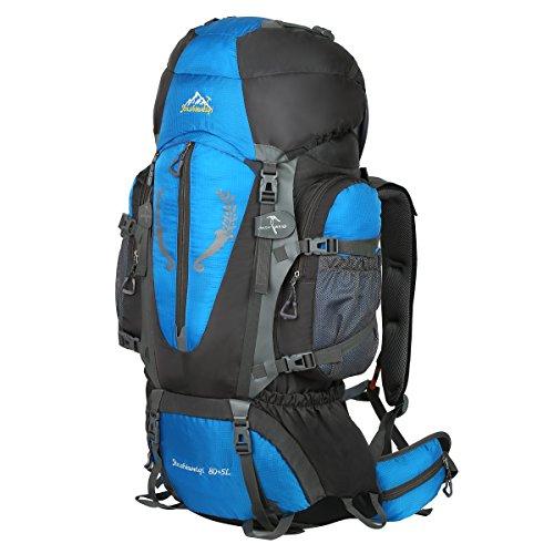 HWJIANFENG Zaini 80+5L Sportivi Unisex in Nylon Poliestere da Trekking Borse per Outdoor Campeggio Escursionismo Viaggi Blu