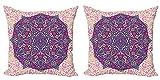 ABAKUHAUS Mandala púrpura Set de 2 Fundas para Cojín, Cosmos Floral, con Estampado en Ambos Lados con Cremallera, 40 cm x 40 cm, Crema pálido Rosa Magenta