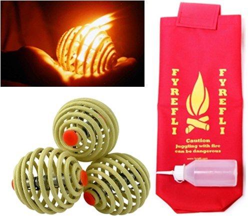 Fyrefli Fire Jonglierbälle – 68 mm, inkl. Tasche und Brennstoffflasche