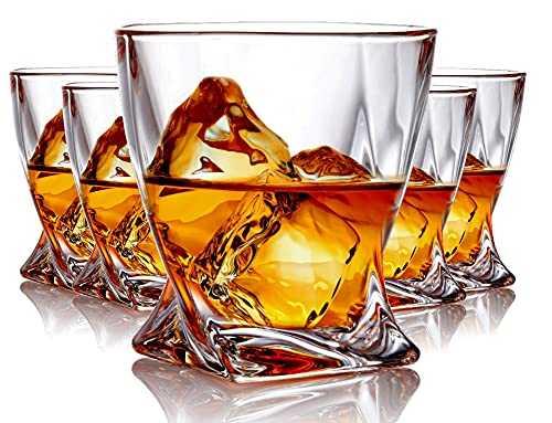Whiskey Glasses set of 6 Crystal Old Fashioned Rock Glass Scotch Bourbon and Spirits 10 Ounce Liqueur Tumbler
