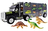 WolVolk Giant Dinosaur Transporter Truck Toy Carrier with Cars and Dinosaurs, Great Toy Truck and Car Carrier
