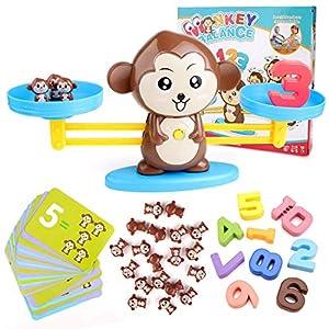 BBLIKE Juguete de Matemáticas, 65 PCS Monkey Balance Tarjetas de Matemáticas Bloque Digital Juego Educativo Juegos de Matemáticas Regalo para Niños y Niñas