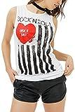 trueprodigy Casual Mujer Marca Camiseta De Tirantes con impresión Estampada Ropa Retro Vintage Rock Vestir Moda Cuello Redondo Sin Manga Slim Fit Designer Fashion Top, Colores:White, Tamaño:XL