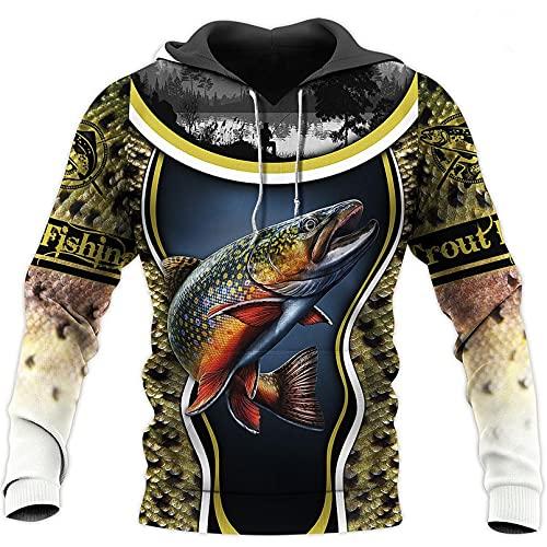 Aixinyan Moda para Hombre Ropa Trucha Pesca 3D Todo Impreso Sudadera con Capucha Informal Chaquetas Unisex Beige L