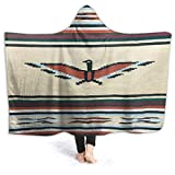 Eagle West Path Mexican Thunderbird Blanket Wall Tan Brown Navajo Aztec Style Super Soft Flannel Hooded Blanket Microfiber Fuzzy Wearable Throw Poncho And Wraps For Bed Couch Travel Giftm 60 X50 Inch