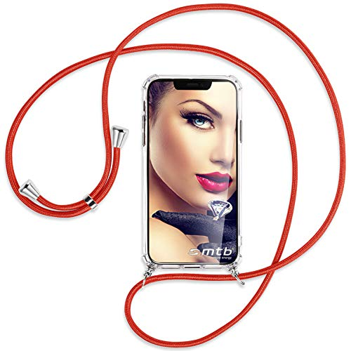 mtb more energy® Handykette 2.0 kompatibel mit Asus Zenfone 4 Max/Plus/Pro (ZC554KL, 5.5'') - rot - Smartphone Hülle zum Umhängen - Anti Shock Strong TPU Case