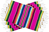 Threads West Genuine Mexican Premium Quality Colorful Fringed Serape Placemats Designed in Traditional Mexican Serape Blanket Material. Set of 4 Placemats (Hot Pink)