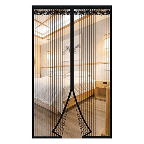 Cortina Magnetica Cortina Mosquitera para Puertas Cortina Antimosquitos Magnetica para puerta de balcón sala de estar puerta de patio (Negro, 120 * 220cm)