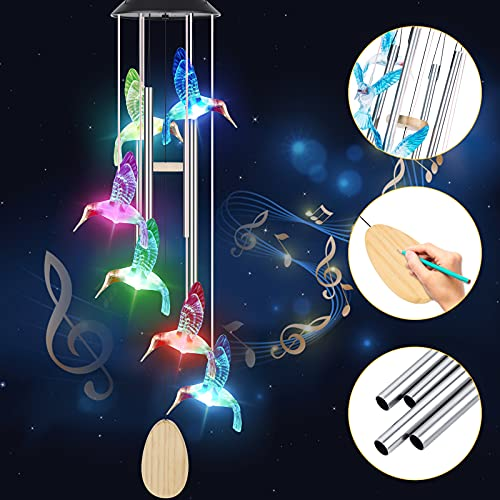 Geegoods Wind Chimes for Outside with Music Tubes, DIY Pendants, 37.5Inch Hummingbird Solar Wind Chimes,Waterproof Color Changing Garden Outdoor Wind Chime Thanksgiving Gifts for Grandma Mom Women