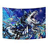 """WHBAG Wolf Tapestry 3D Psychedelic Tapestries Constellation Colorful Feather Walling Hanging Galaxy Purple Trippy Tapestry Oil Painting Style for Men Boys 60""""x 51"""""""