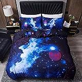 LAMEJOR Duvet Cover Set Queen Size 3D Galaxy Outer Space Nebula Pattern Luxury Soft Bedding Set Comforter Cover(1 Duvet Cover+2 Pillowcases) Purple