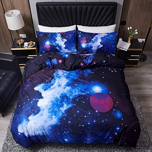 LAMEJOR Duvet Cover Set Queen Size 3D Galaxy Outer Space Luxury Soft Bedding Set Comforter Cover(1 Duvet Cover+2 Pillowcases) Purple