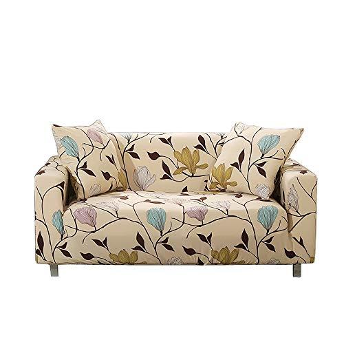 ASCV Blätter Muster Sofabezug Schonbezüge Elastische All-Inclusive-Couch-Hülle für L-Form Sofa Liebessitz A24 3-Sitzer