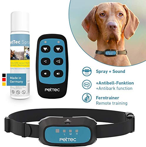 PetTec Erziehungshalsband Hunde, 180m Reichweite, Fern- & Antibell Trainer, Akkubetrieb, Strahlwasserschutz, inkl. Halsband und Spray, Erziehung mit Ton und Spray (Remote Spray Trainer 3.0)