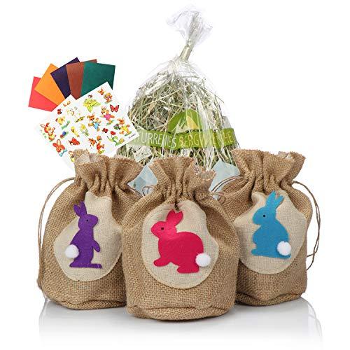 COM-FOUR® 6-delige decoratie- en cadeauset voor Pasen - jutezak, echt bergweidehooi, paasstickers, kleurpapier - perfect voor paaseieren (6 delen - jutezak met hooi)