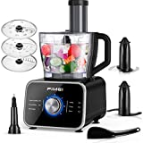 Food Processor FIMEI 12 Cup Multifunctional Food Processor- Chopper, Mixer, Knead Dough Blade, Cutting, Shredding, Slicing Attachments and 3.2L Bowl, 3 Speeds Plus Pulse, Reinforced Glass Panel