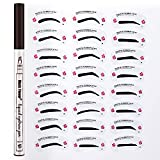 Tattoo Eyebrow Pen & 24 Eyebrow Stencil, Waterproof Ink Gel Tint with Four Tips, Long Lasting Smudge-Proof Natural Hair-Like Defined Brows All Day (Chestnut), Reusable Eyebrow Template