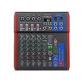 Mesas de Mezclas, Controlador DJ de 6 Canales con Efecto de reverbio 99DSP Bluetooth 5.0 USB Mezclador para Karaoke PC grabación con Condensador Mic Mezclador Audio