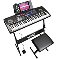 The RockJam 761 keyboard piano super kit includes an electronic keyboard with 61 full-size keys giving you that traditional piano feel whilst maintaining a portable and compact design that can be powered by either main (power supply included) or batt...