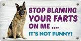 StickerPirate 254HS German Shepherd Stop Blaming Your Farts On Me 5'x10' Aluminum Hanging Novelty Sign