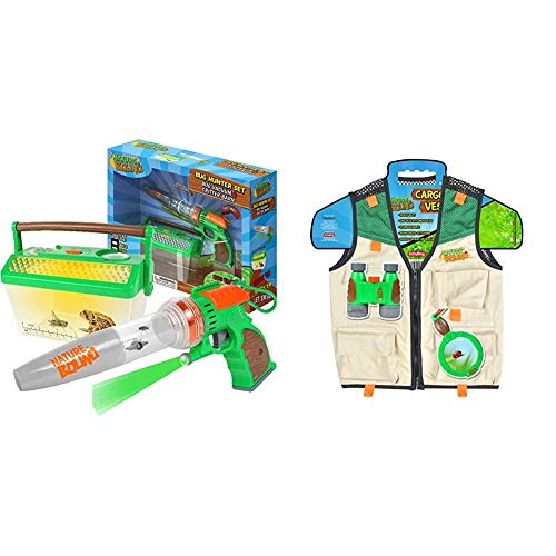 Nature Bound NB508 Bug Catcher Vacuum with Light Up Critter Habitat Case for Backyard Exploration - Complete kit for Kids & Cargo Vest for Kids with Zipper, 4 Pockets, and Durable Stitching