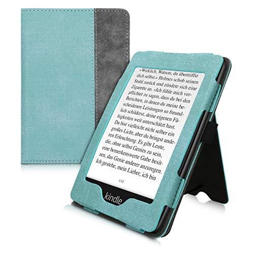kwmobile Funda Compatible con Amazon Kindle Paperwhite - con Agarre elástico y Soporte de Apoyo - en Menta/Gris Oscuro