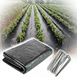 XUEXUE Weed Barrier Fabric, Weed Membrane UV Stabilised PP Black Woven Covers, Permeate Water with 100 Garden Pins, for Garden Plant (Color : Black, Size : 1.2X15M)