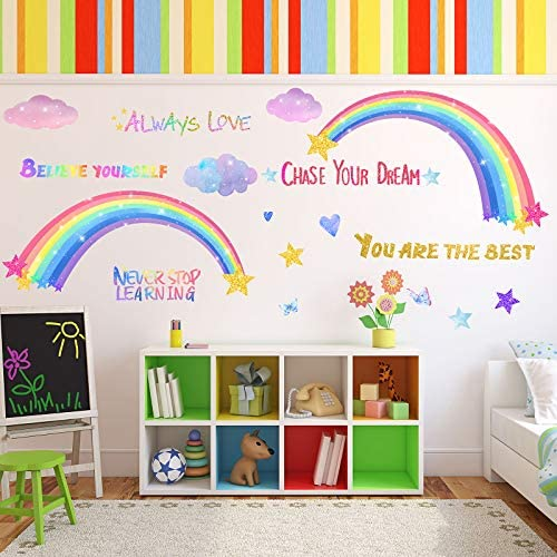 3 Sheets Rainbow Wall Decals for Girls Room Colorful Rainbow Butterflies Clouds Star Heart Wall product image