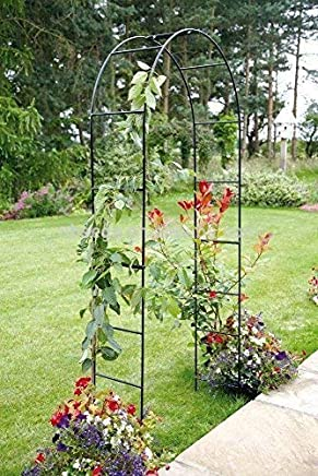 Garden Mile® Large 2.4M Black Metal Garden Arch Heavy Duty Strong Tubular Arbour For Roses Climbing Plants Support Archway garden Decoration