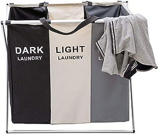 Grand panier à linge pliable pour vêtements sales, 3 compartiments avec poignée pour chambre à coucher, salle de bain