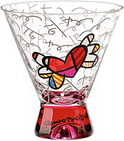 Romero Britto Martini Glass - Pink Fl Base with Pattern Graphic Outlet sale feature Daily bargain sale