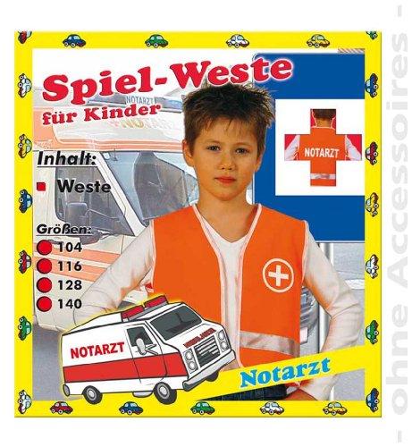 FASCHING 1554 Kinder-Kostüm Spiel-Weste Notarzt NEU/OVP: Größe: 128