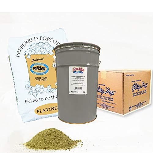 業務用3点セット ポップコーン豆プレファードPLATINUM22.68kg + キャラメル22.7kg + ココナッツオイル バター風味あり