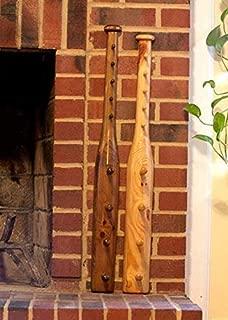 Baseball Bat Coat and Hat Rack Wall Hanging Walnut Finish
