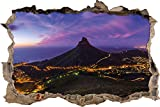 Kapstadts Löwenkopf Tafelberg Wanddurchbruch im 3D-Erscheinungsbild, Wand- oder Türaufkleber Format: 92x62cm, Wandsticker, Wandtattoo, Wanddekoration