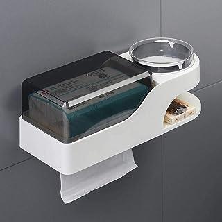 Toiletrolhouder met asbak wandmontage en stofdichte zelfklevende tissuebox, badkamer opbergdoos en mobiele telefoonhouder