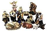 Unbekannt Krippenfiguren mit Kleidern, Heilige Familie, Heilige 3 Könige, Engel und Hirten (0941000)
