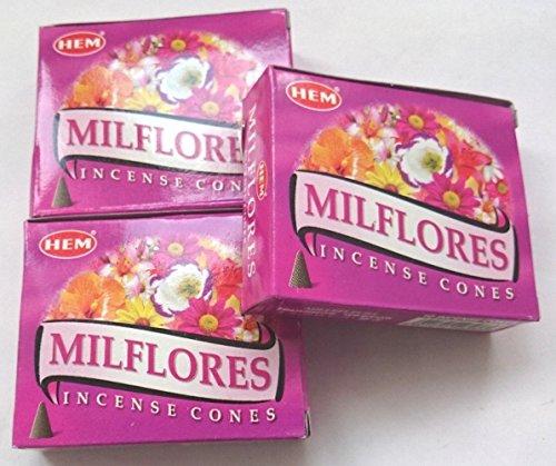 HEM(ヘム)お香 ミルフローレス コーン 3個セット